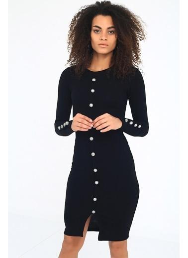 Emjey Önü Ve Kolları Düğmeli Midi Boy Elbise Siyah